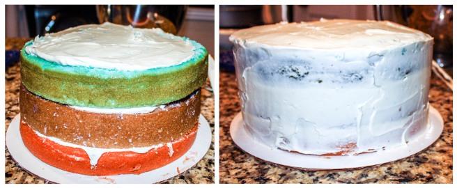 White Almond Sour Cream Cake collage 3