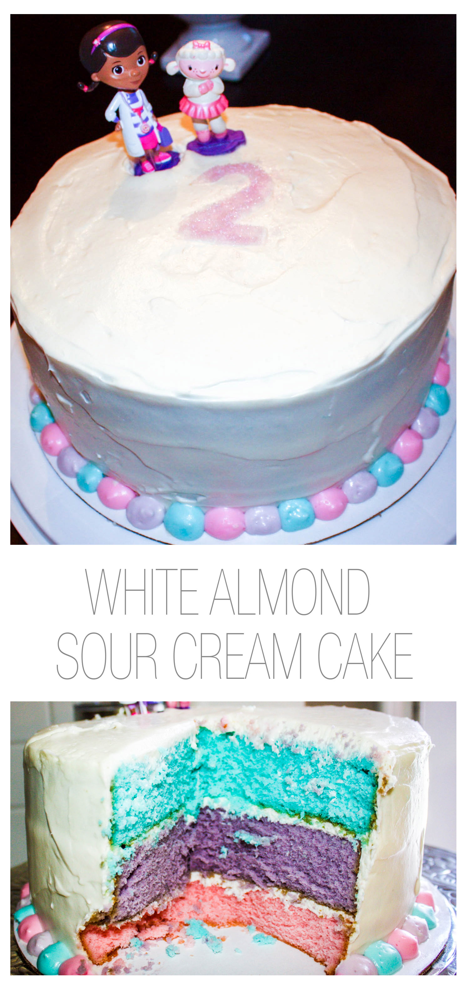 White Almond Sour Cream Cake with Piped Cream Cheese Frosting