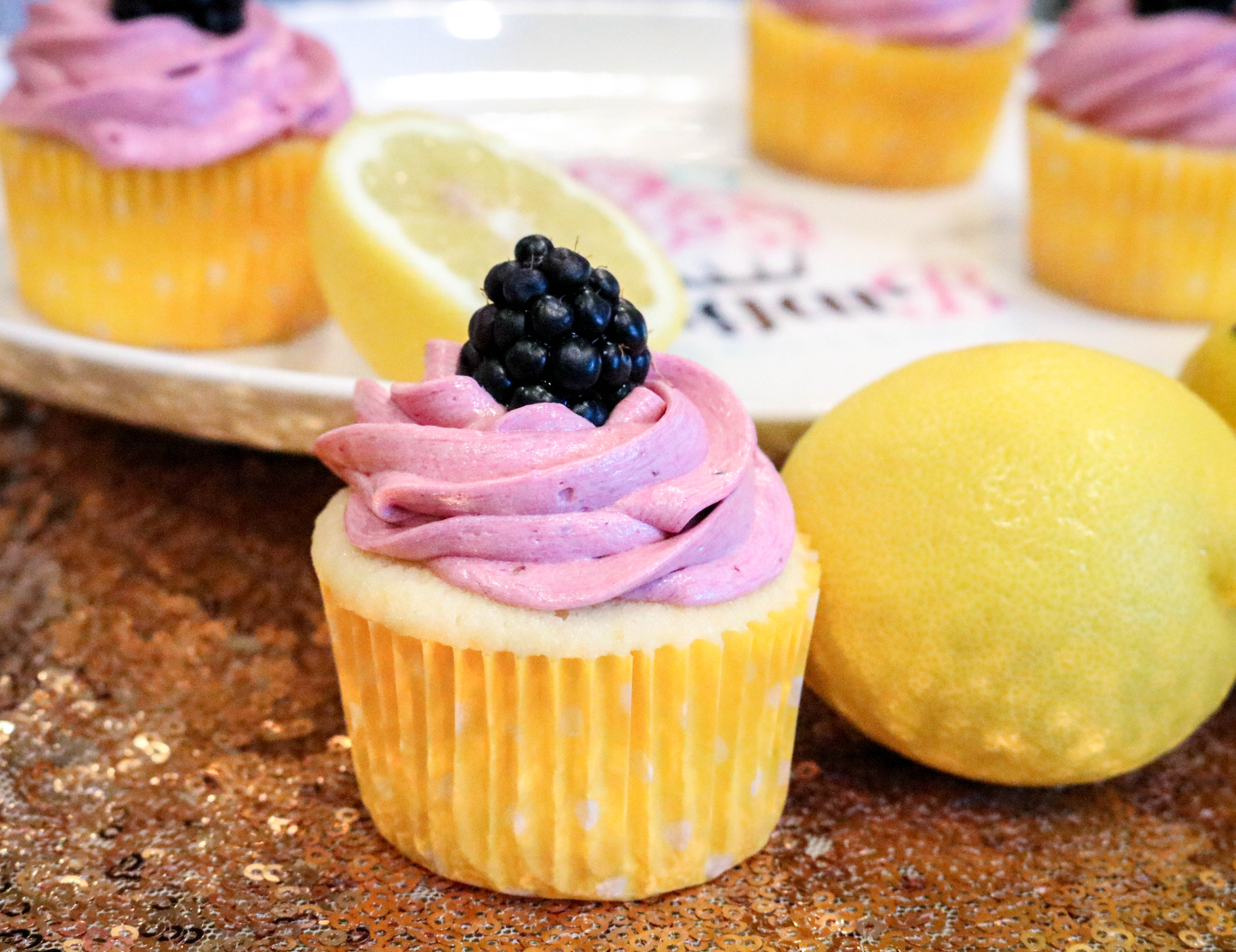 Lemon Cupcakes with Blackberry Buttercream | SugarB Cupcakes